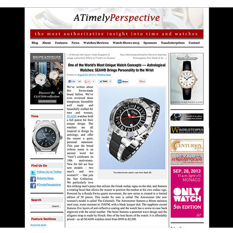 "A Timely Perspective Site notes SEAH® watches ""Most Unique Watch Concepts"""