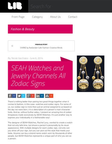 SEAH's® earrings and astrology influenced jewelry featured on Lib