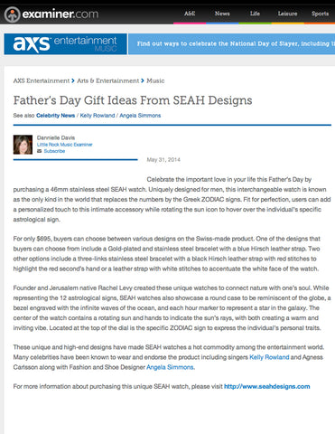 Examiner.com lists SEAH's® Mens Collection as great father's day gifts