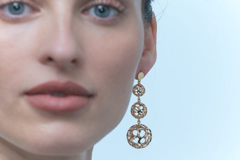 Lace Yellow Gold-Tone Globe Earrings (LLYG-LGE-925)