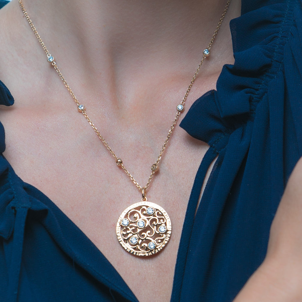 Lace Yellow Gold-Tone Necklace (LYG-NL-925)