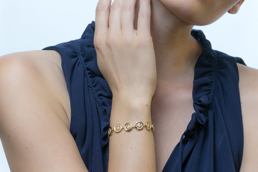 Lace Yellow Gold-Tone Bracelet (LYG-BR-925)