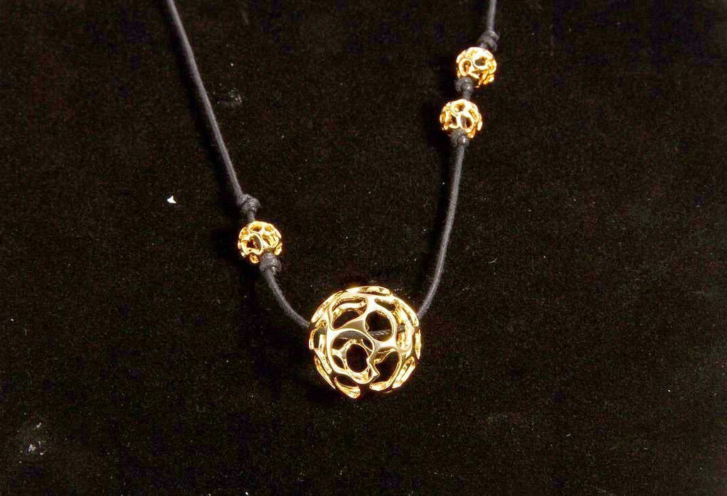 Lace Yellow Gold-Tone Globe Faux Leather Necklace (LLYG-GPNL-925)