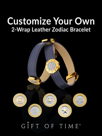 2-Wrap Customize Your Own Leather Bracelet with Zodiac Emblems