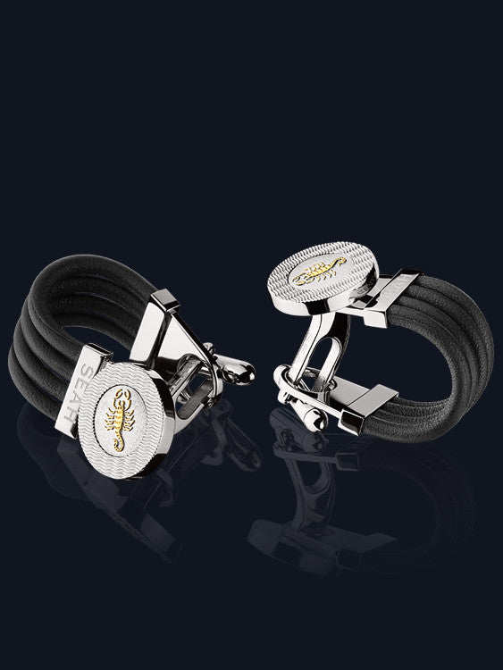 Men's Leather & Astrological Sign Cufflinks CL-SS
