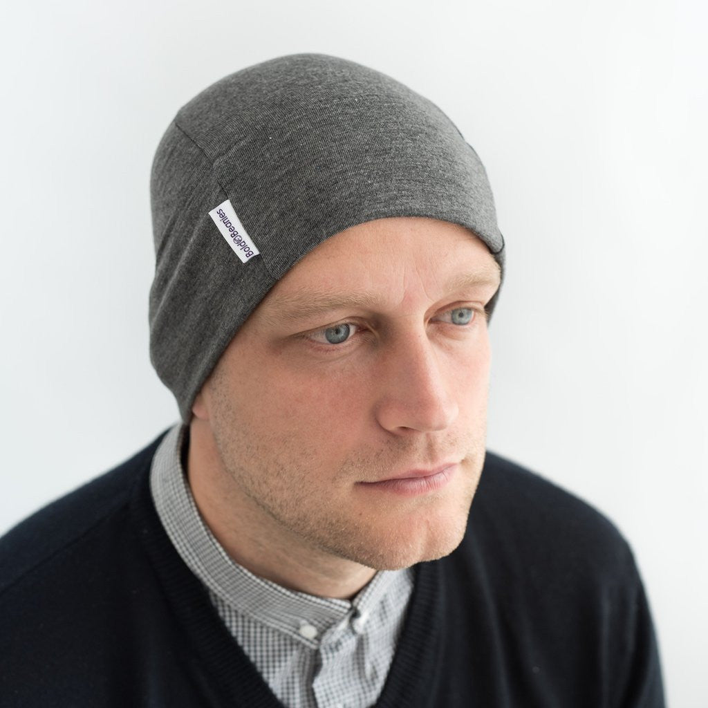 Back in Stock - Grey Mens Bold Beanie Hat Cap Skullie
