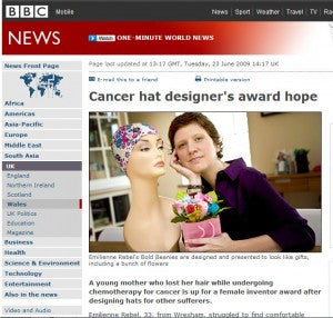 BBC News Website Cancer Chemotherapy Hat Designer Award