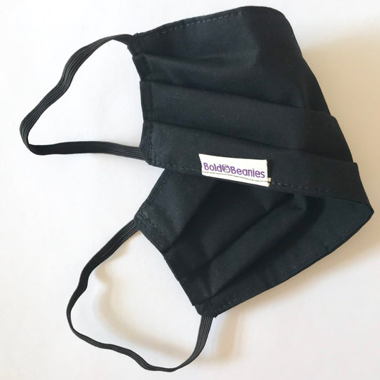 Black Plain Cotton Face Mask Covering Uniform