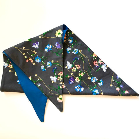 Satin Navy Wild Floral Chemo Reversible Headscarf