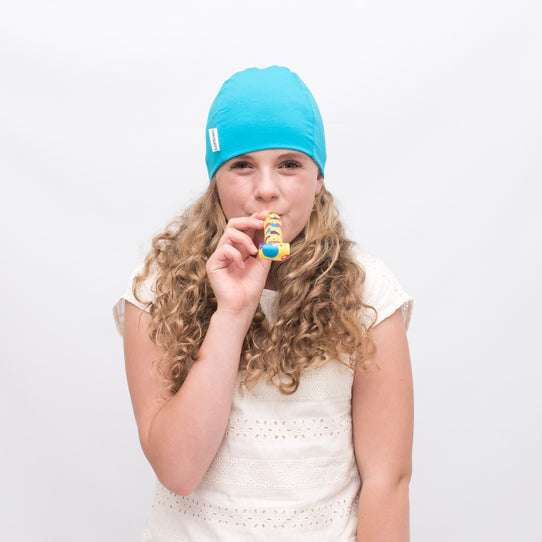 Turquoise Blue Kids Cancer Hat