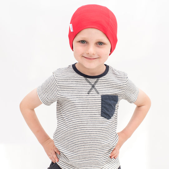 red cotton comfy child cancer hat