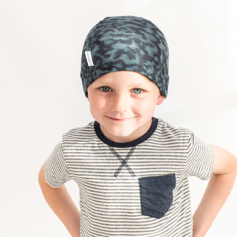 Boys Blue Camouflage Print Chemo Cancer Alopecia Headwear Hats Cotton Caps