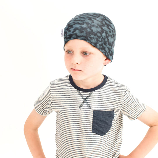 Boys Blue print cotton cancer chemotherapy alopecia beanie hat