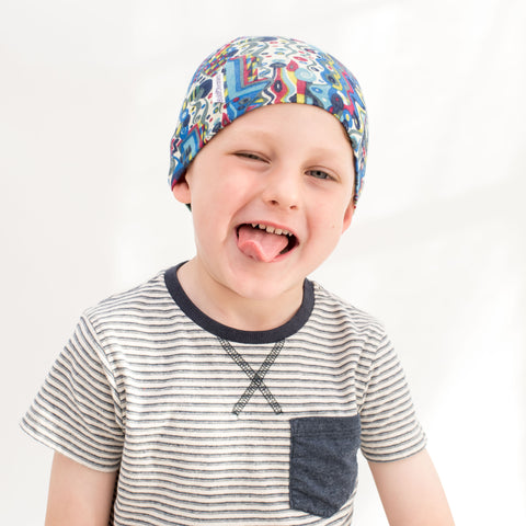Liberty Print fun thin cotton hats for kids hair loss