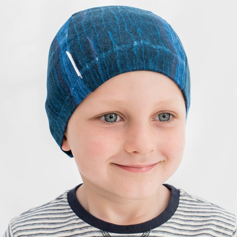 Boys Cancer Hat in Liberty Blue Felix Print