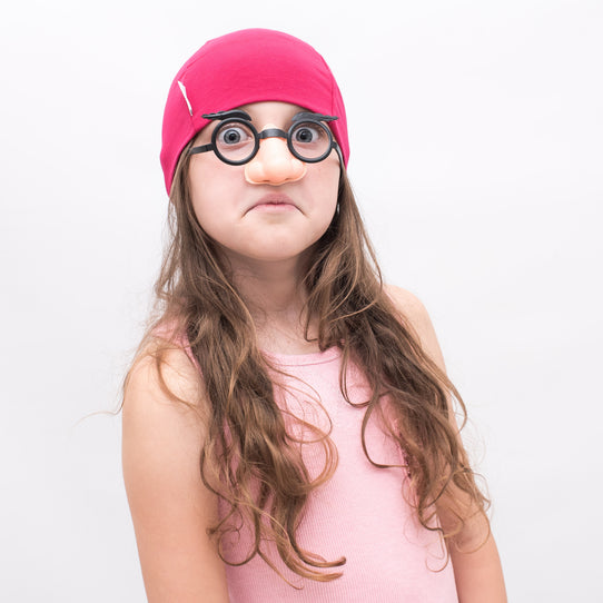 dark pink plain custom stretchy soft girls beanie hat cap