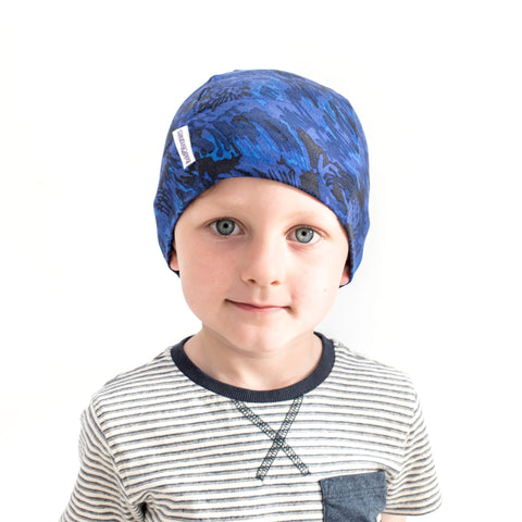 Blue camouflage cotton thin stretchy beanie hat