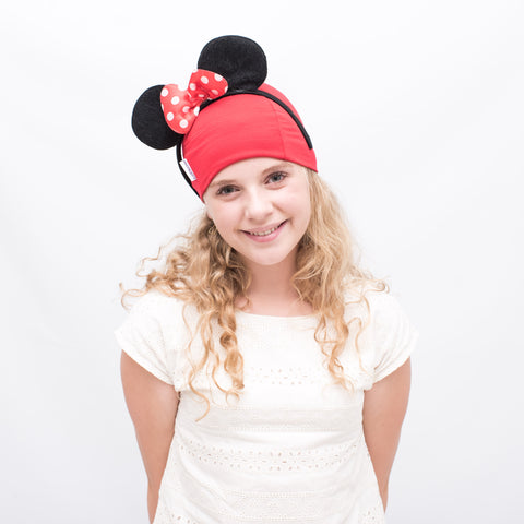 red cotton stretchy hat for kids