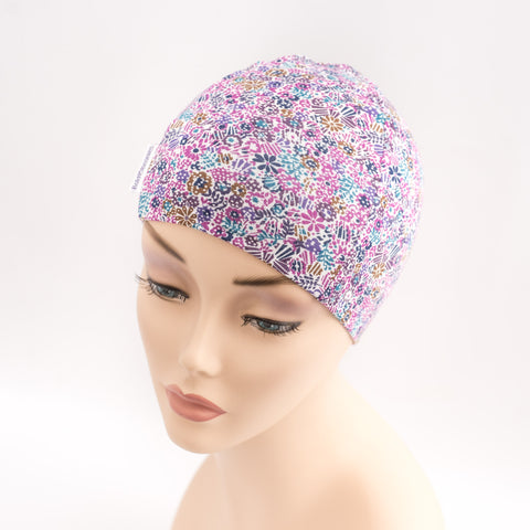 teen cancer charity kids holiday chemo hat purple ditsy liberty print