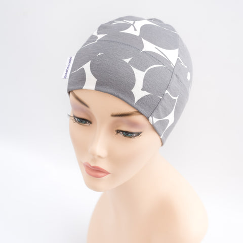 Grey Print Cotton Alopecia Hat