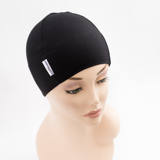 black comfy cancer chemo soft thin beanie hats for women