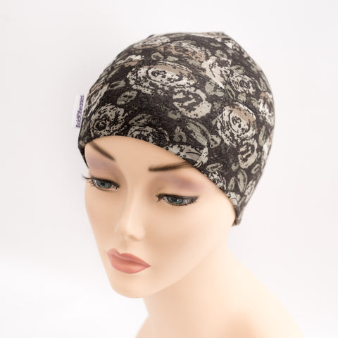 Liberty Art fabrics vintage rose print beanie hair loss hat