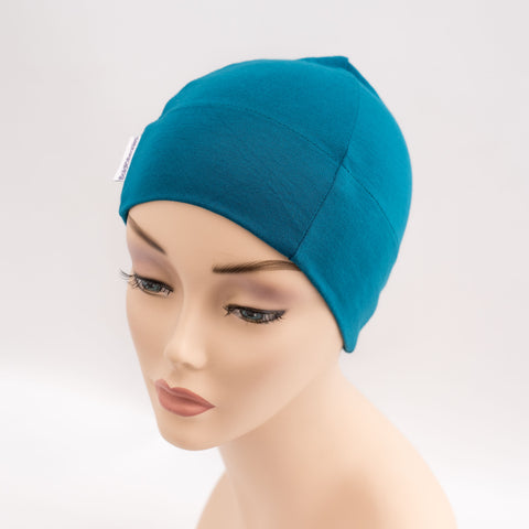 Teal Blue Cotton Soft Cancer Hat