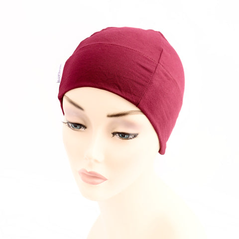 snug silky stretchy breathable hat for bald heads aubergine purple
