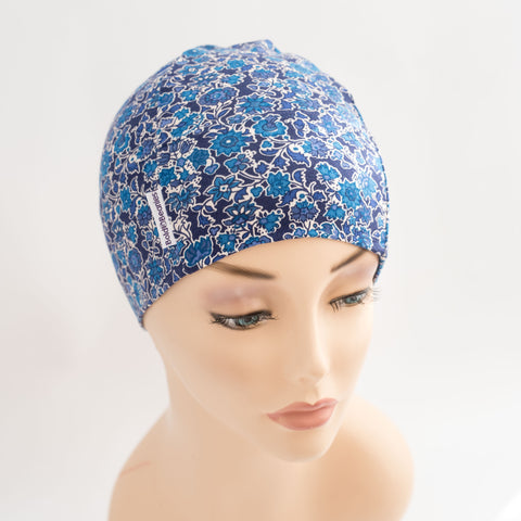 hair loss headwear skull cap hat women liberty blue flower print