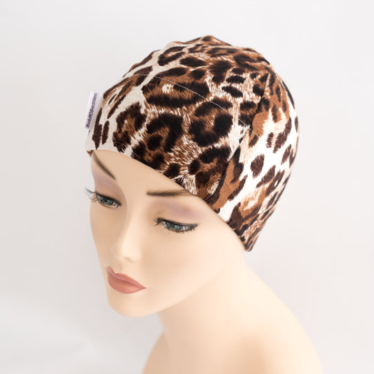 Animal Print Brown Cotton Bold Beanie Hair Loss Print