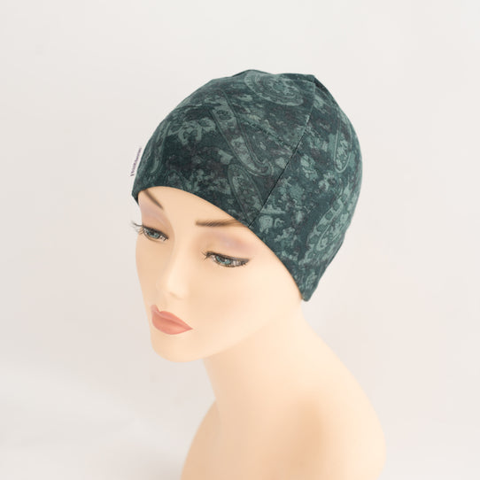 Thin stretchy Women's hat in green Liberty paisley print