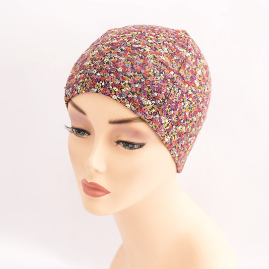 Liberty Ditsy Floral Cotton Soft Stretchy Hats for Hair Loss