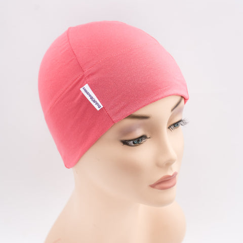 Coral Pink Plain Bold Beanies Hat