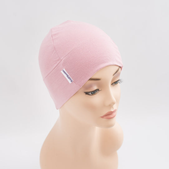 Plain Rose Pink Bold Beanie Hat for Hair Loss