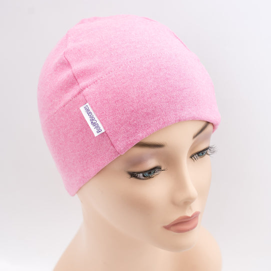 Pink Marl Plain Customisable Cotton Beanie Hat for Hair Loss
