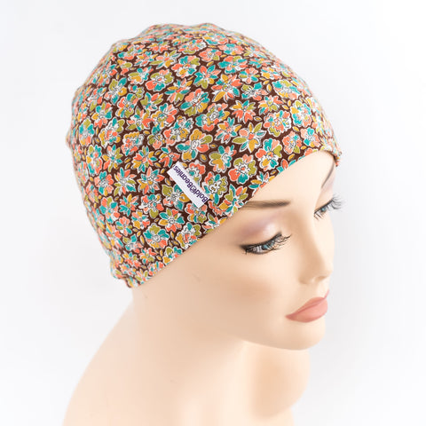 liberty brown floral print cancer chemo alopecia hair loss headwear