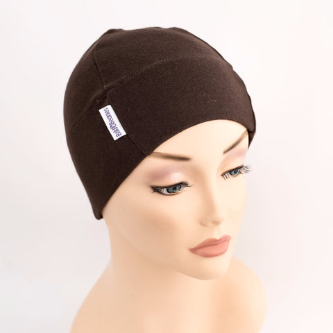 brown cotton womens chemotherapy hat sleep cap