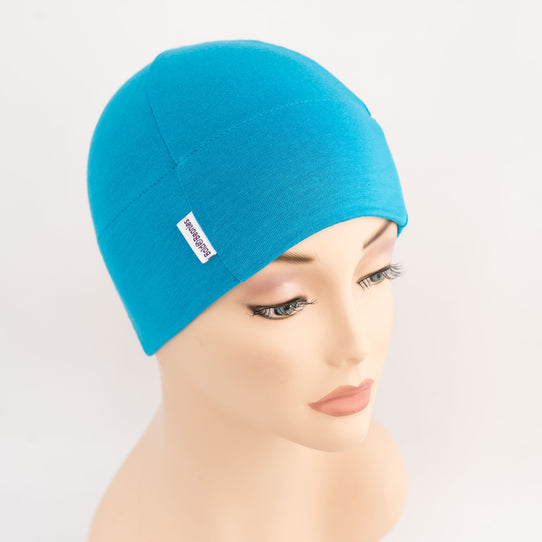 Turquoise plain cotton beanie hat for hair loss