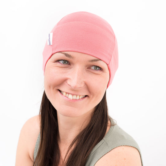 Coral Pink Plain Bold Beanies Hat Cancer Chemo Alopecia Cap