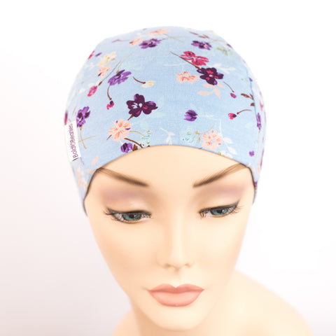 Stylish Headwear for Hair Loss Cornflower Blue Floral