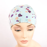Aqua Blue Floral Pretty Chemo Headwear