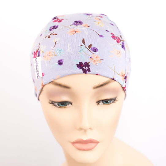 Lilac floral print chemo cap sleep hair loss hat