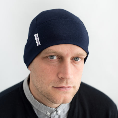 mens navy blue cotton beanie hat cap sleep skull