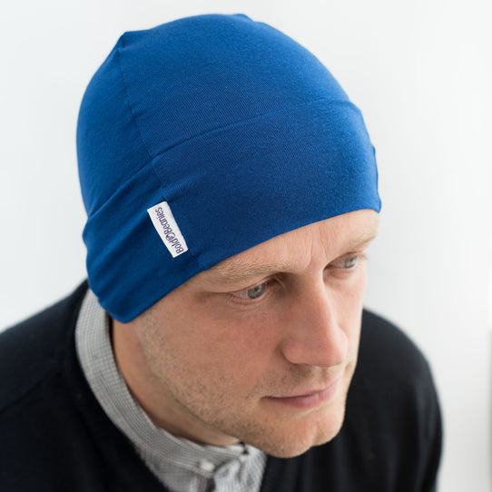 Blue Plain Men s Bold Beanies Hat Cancer Chemo Alopecia Cap Custom dee101051cb