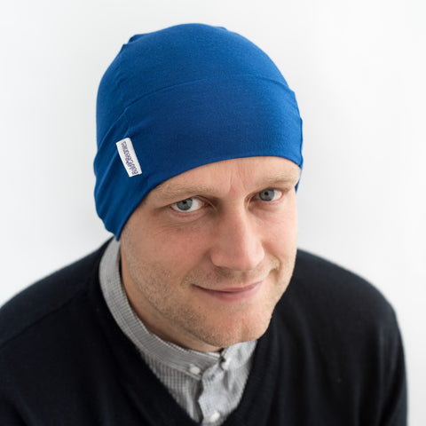 blue cotton cancer chemo hat cap thin breathable