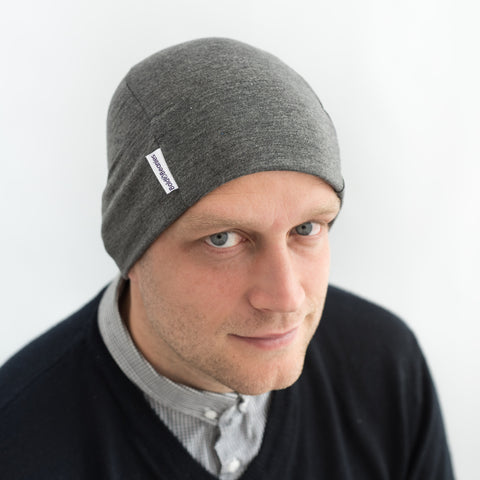 Dark Grey marl cotton comfy beanie hat skull cap