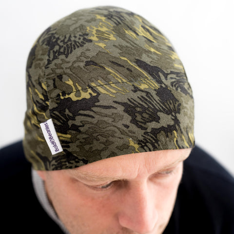 Khaki Green Camouflage Liberty Print thin cotton beanie hat