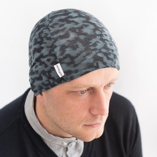 blue liberty print chemo cancer alopecia beanie hat men
