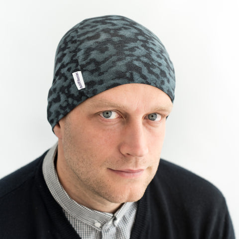 petrol plastic fantastic blue Liberty Art Fabric thin cotton mens beanie hat