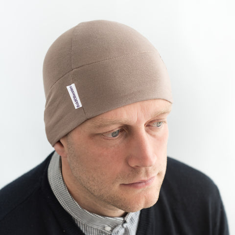 Light brown thin camel cotton mens beanie hat